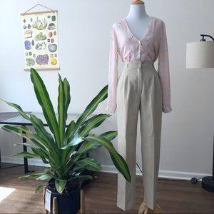 Vintage Khaki Pleated High Rise Trouser Pants